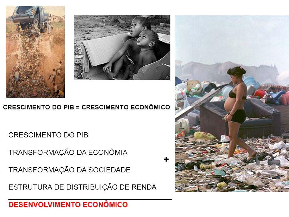 CRESCIMENTO DO PIB = CRESCIMENTO ECONÔMICO CRESCIMENTO DO PIB TRANSFORMAÇÃO DA ECONÔMIA TRANSFORMAÇÃO DA SOCIEDADE ESTRUTURA DE DISTRIBUIÇÃO DE RENDA