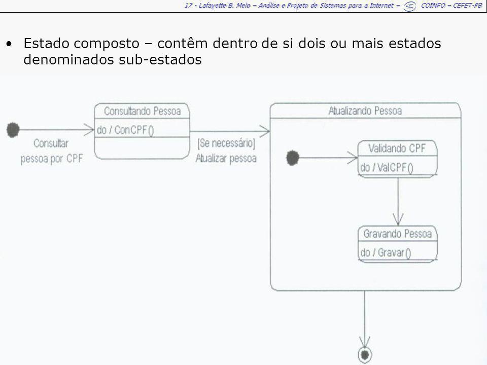 17 - Lafayette B. Melo – Análise e Projeto de Sistemas para a Internet – COINFO – CEFET-PB Estado composto – contêm dentro de si dois ou mais estados