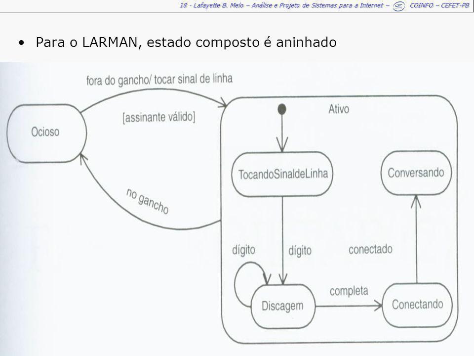18 - Lafayette B. Melo – Análise e Projeto de Sistemas para a Internet – COINFO – CEFET-PB Para o LARMAN, estado composto é aninhado