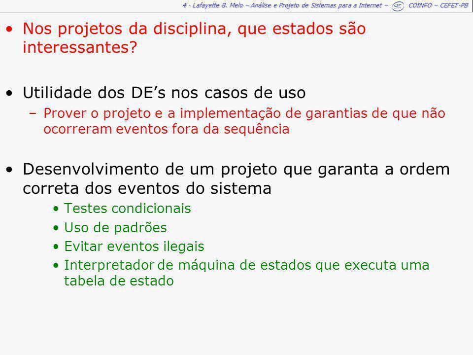 4 - Lafayette B. Melo – Análise e Projeto de Sistemas para a Internet – COINFO – CEFET-PB Nos projetos da disciplina, que estados são interessantes? U