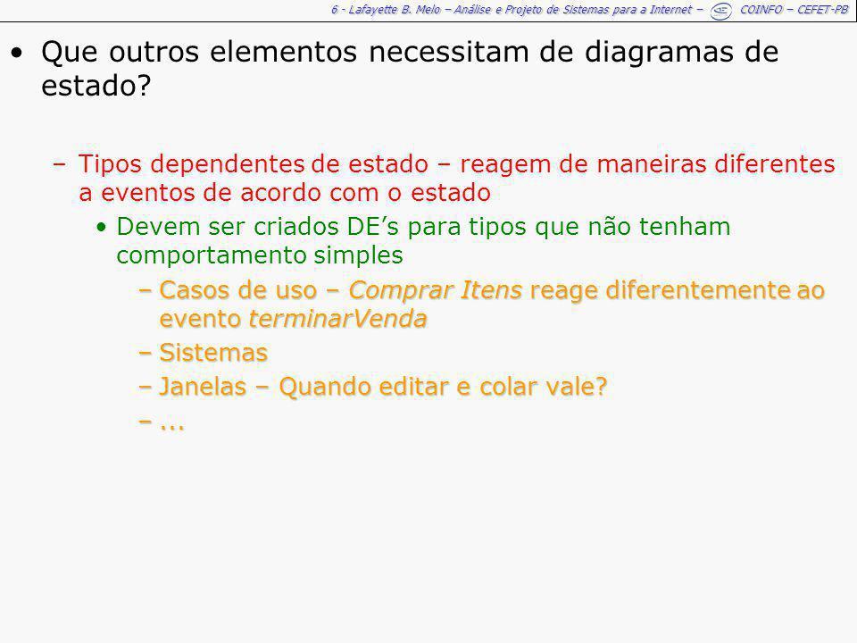 6 - Lafayette B. Melo – Análise e Projeto de Sistemas para a Internet – COINFO – CEFET-PB Que outros elementos necessitam de diagramas de estado? –Tip