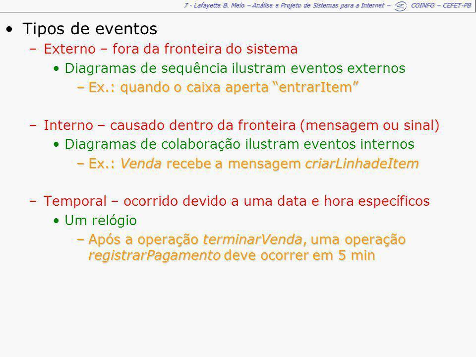 7 - Lafayette B. Melo – Análise e Projeto de Sistemas para a Internet – COINFO – CEFET-PB Tipos de eventos –Externo – fora da fronteira do sistema Dia