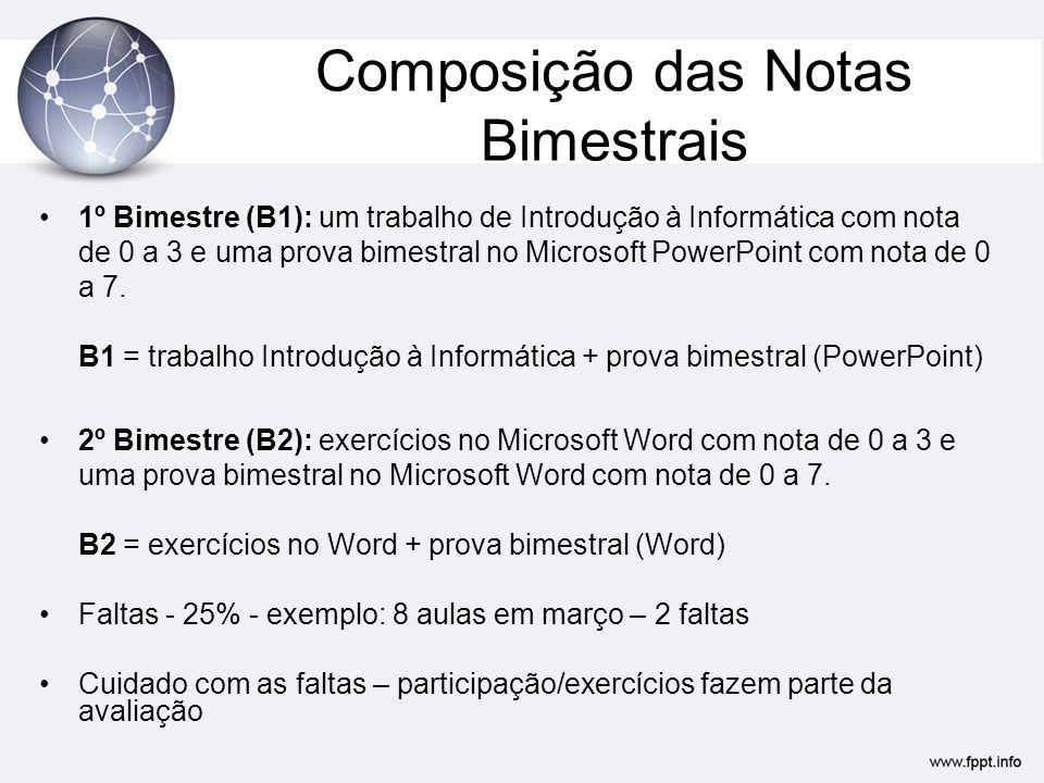 Composição das Notas Bimestrais 1º Bimestre (B1): um trabalho de Introdução à Informática com nota de 0 a 3 e uma prova bimestral no Microsoft PowerPoint com nota de 0 a 7.
