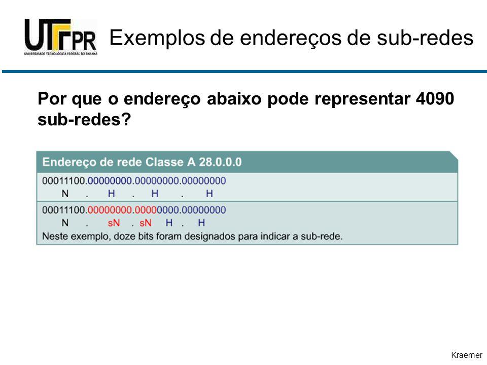 Kraemer Exemplos de endereços de sub-redes Por que o endereço abaixo pode representar 4090 sub-redes?