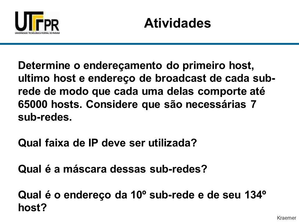 Kraemer Determine o endereçamento do primeiro host, ultimo host e endereço de broadcast de cada sub- rede de modo que cada uma delas comporte até 6500