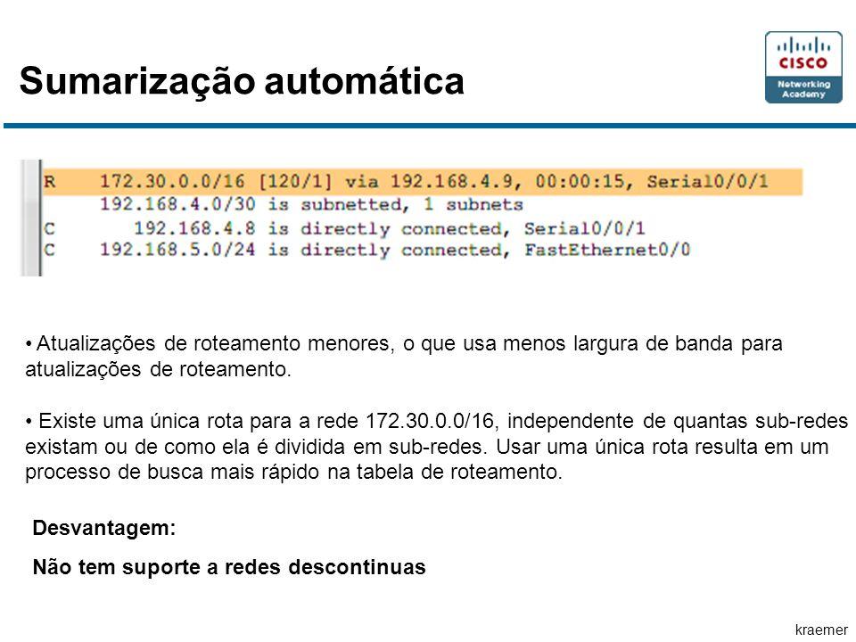 kraemer Sumarização automática Atualizações de roteamento menores, o que usa menos largura de banda para atualizações de roteamento.