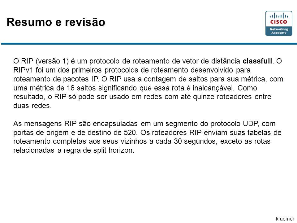 kraemer O RIP (versão 1) é um protocolo de roteamento de vetor de distância classfull.