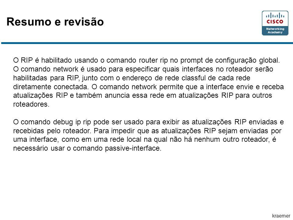 kraemer O RIP é habilitado usando o comando router rip no prompt de configuração global.