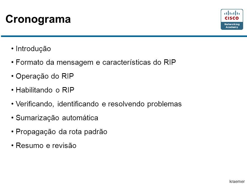 kraemer Cronograma Introdução Formato da mensagem e características do RIP Operação do RIP Habilitando o RIP Verificando, identificando e resolvendo problemas Sumarização automática Propagação da rota padrão Resumo e revisão
