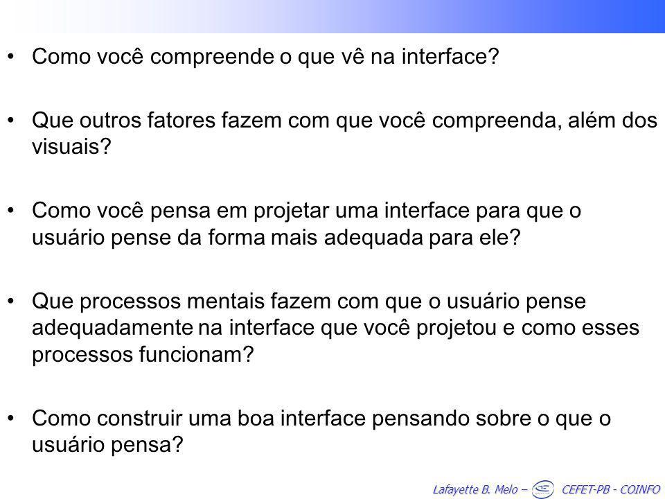 Lafayette B.Melo – CEFET-PB - COINFO Como você compreende o que vê na interface.