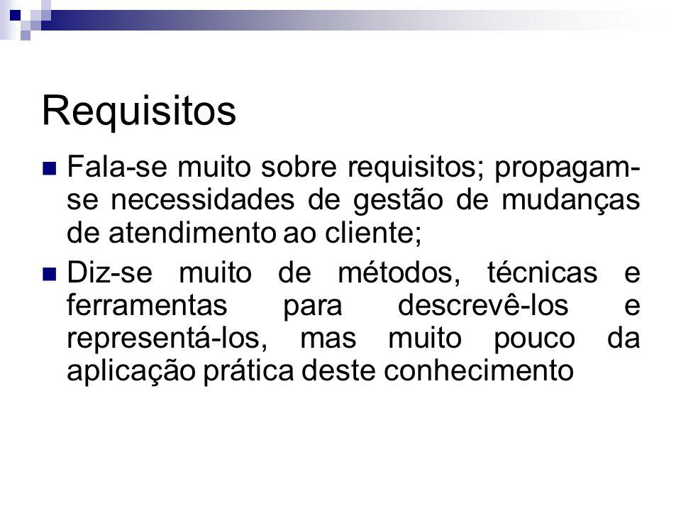 Requisitos Fala-se muito sobre requisitos; propagam- se necessidades de gestão de mudanças de atendimento ao cliente; Diz-se muito de métodos, técnica