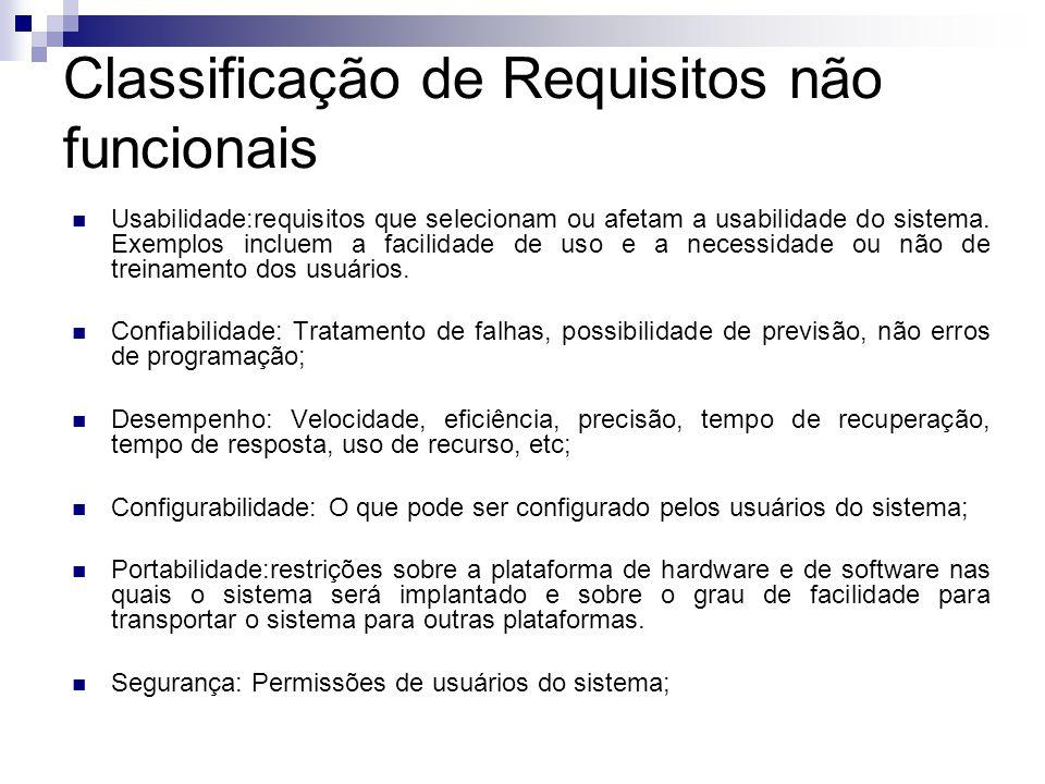 Classificação de Requisitos não funcionais Usabilidade:requisitos que selecionam ou afetam a usabilidade do sistema. Exemplos incluem a facilidade de