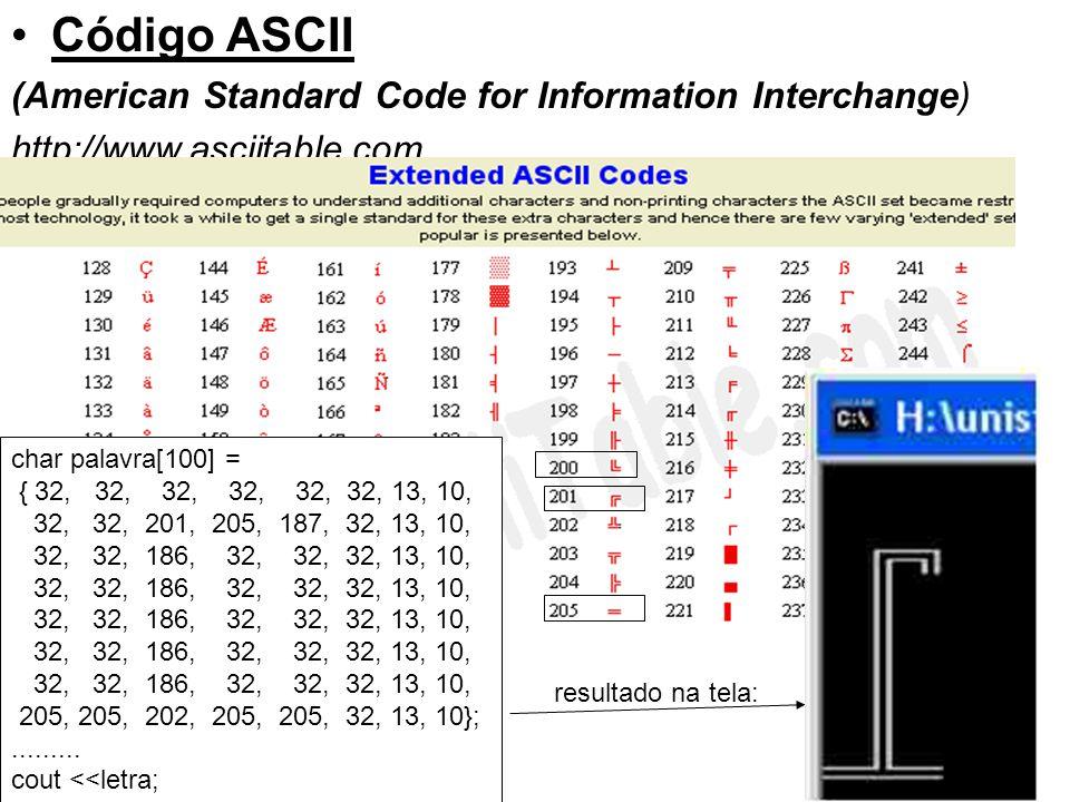 Código ASCII (American Standard Code for Information Interchange) http://www.asciitable.com char palavra[100] = { 32, 32, 32, 32, 32, 32, 13, 10, 32,