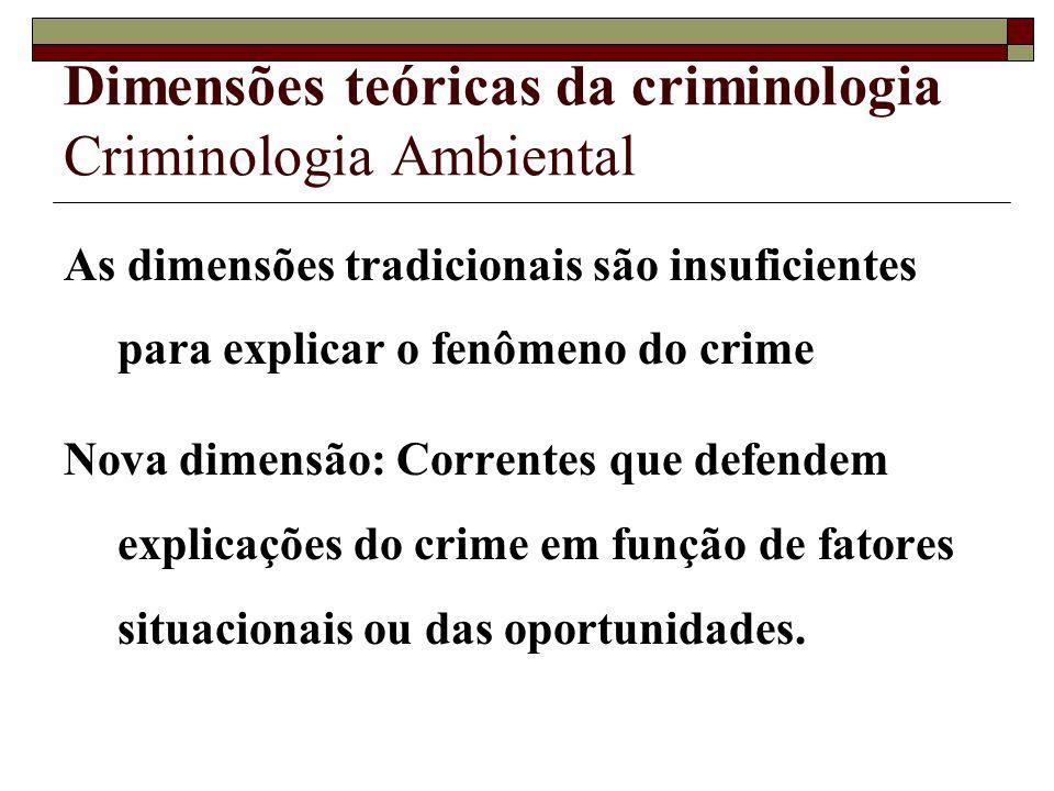 Dimensões teóricas da criminologia Criminologia Ambiental As dimensões tradicionais são insuficientes para explicar o fenômeno do crime Nova dimensão: