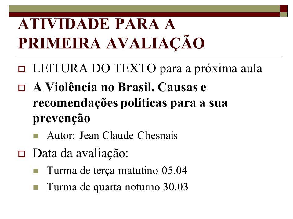 ATIVIDADE PARA A PRIMEIRA AVALIAÇÃO LEITURA DO TEXTO para a próxima aula A Violência no Brasil. Causas e recomendações políticas para a sua prevenção
