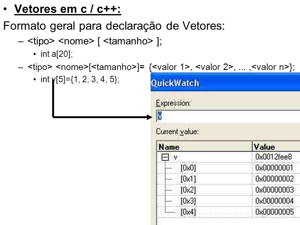 Vetores em c / c++: Formato geral para declaração de Vetores: – [ ]; int a[20]; – [ ]= {,,..., }; int v[5]={1, 2, 3, 4, 5};