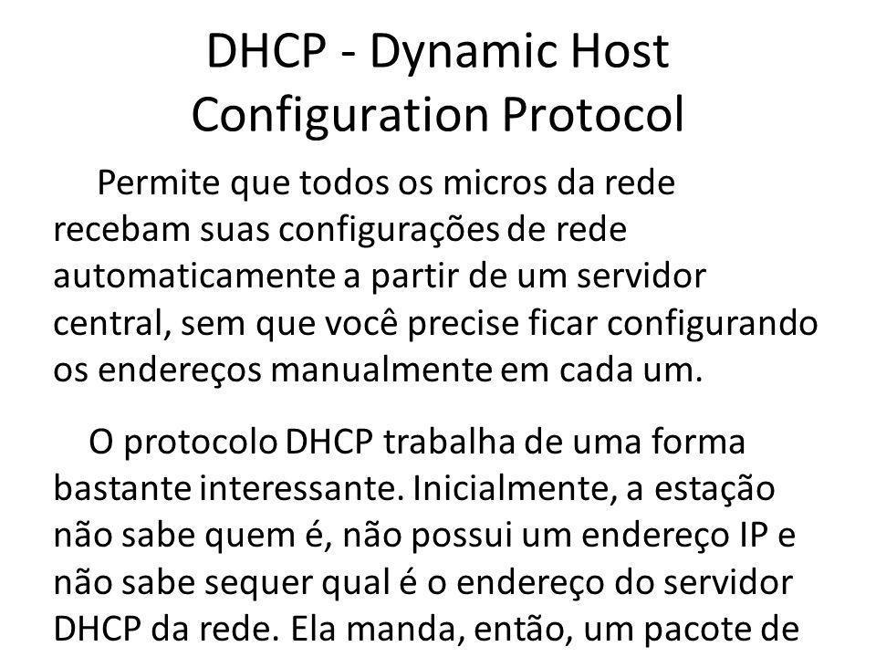 DHCP - Dynamic Host Configuration Protocol Permite que todos os micros da rede recebam suas configurações de rede automaticamente a partir de um servi