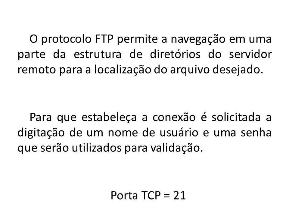 O protocolo FTP permite a navegação em uma parte da estrutura de diretórios do servidor remoto para a localização do arquivo desejado. Para que estabe
