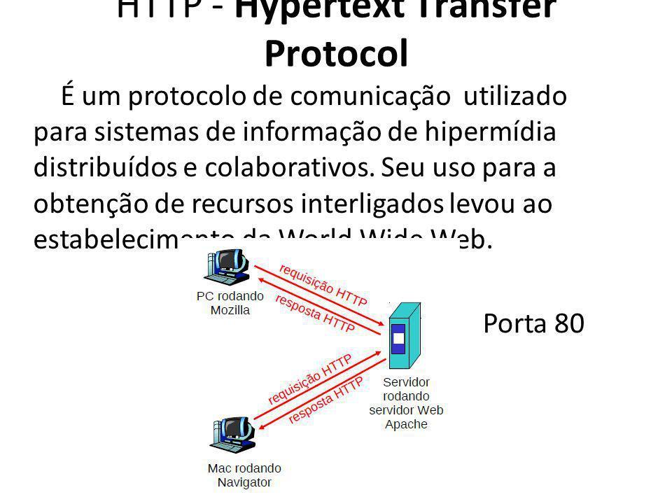 HTTP - Hypertext Transfer Protocol É um protocolo de comunicação utilizado para sistemas de informação de hipermídia distribuídos e colaborativos. Seu