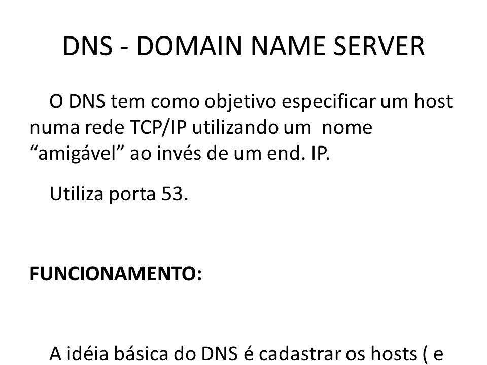 DNS - DOMAIN NAME SERVER O DNS tem como objetivo especificar um host numa rede TCP/IP utilizando um nome amigável ao invés de um end. IP. Utiliza port