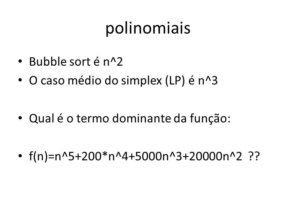 polinomiais Bubble sort é n^2 O caso médio do simplex (LP) é n^3 Qual é o termo dominante da função: f(n)=n^5+200*n^4+5000n^3+20000n^2 ??