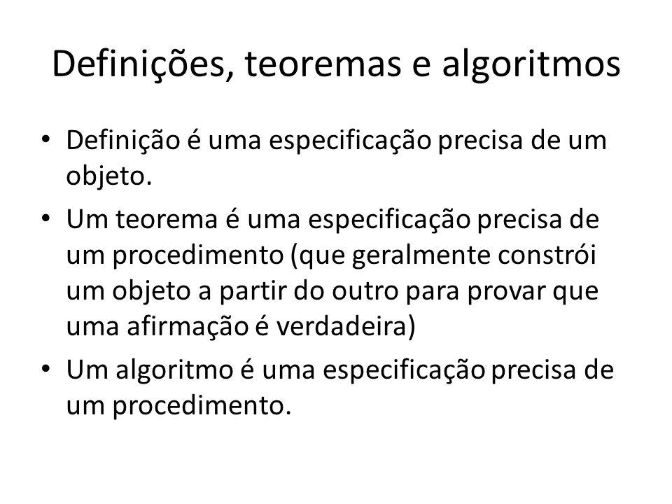 Definições, teoremas e algoritmos Definição é uma especificação precisa de um objeto.