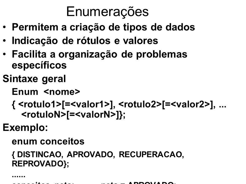 Enumerações Associação de valores: –As constantes indicadas são do tipo inteiro –O valor da primeira constante é zero, a não ser que seja indicado outro valor –As constantes são sempre incrementadas de um, na sequência em que foram descritas.