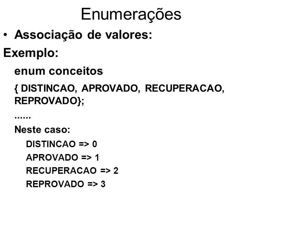 Enumerações Associação de valores: Outros exemplos: enum meses { JANEIRO=1, FEVEREIRO, MARCO, ABRIL, MAIO, JUNHO, JULHO, AGOSTO, SETEMBRO, OUTUBRO, NOVEMBRO, DEZEMBRO }; enum teste { ZERO, UM, CINCO=5, SEIS, SETE, OITO, DEZ=10, ONZE };