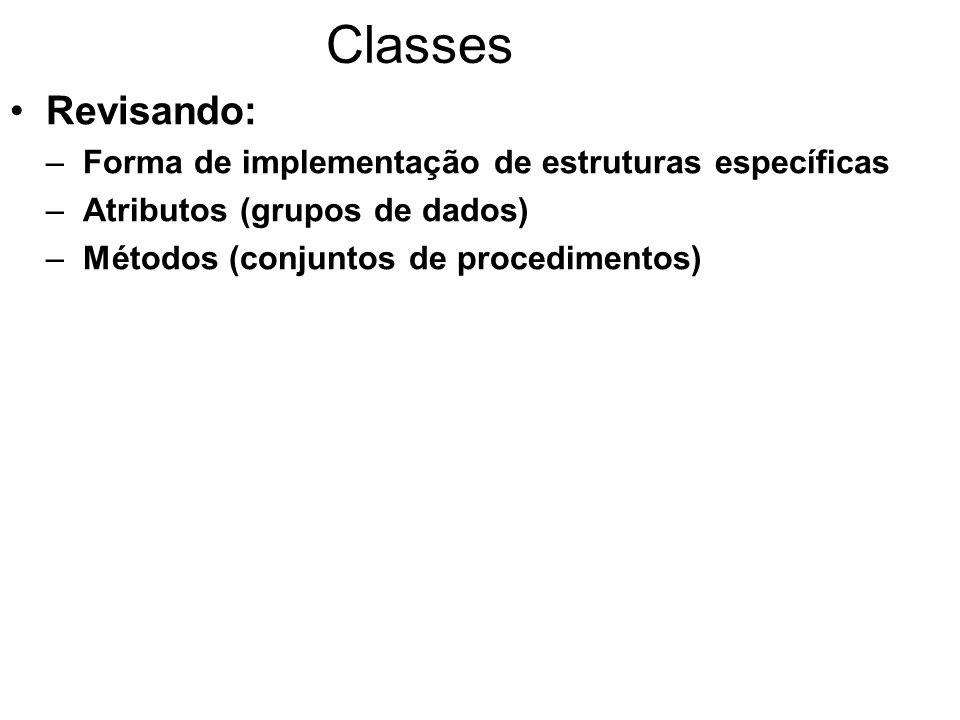 Classes Revisando: –Forma de implementação de estruturas específicas –Atributos (grupos de dados) –Métodos (conjuntos de procedimentos)