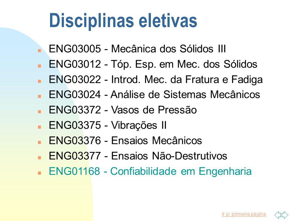 Ir p/ primeira página Disciplinas obrigatórias n ENG03104 - Mecânica para Eng.