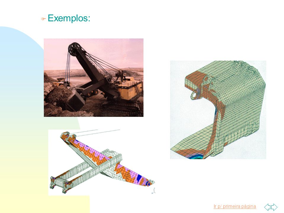 Ir p/ primeira página F Exemplos: 4000 elementos de placa 966 elementos de viga