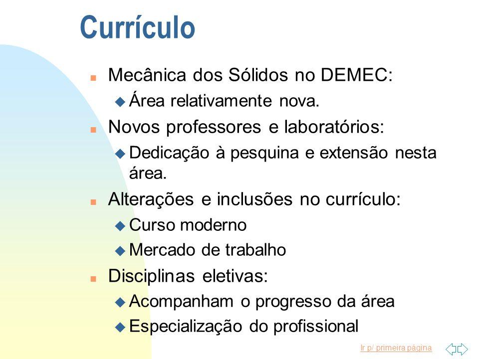 Ir p/ primeira página Currículo n Mecânica dos Sólidos no DEMEC: u Área relativamente nova.