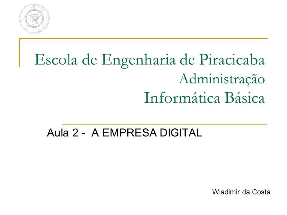 Escola de Engenharia de Piracicaba Administração Informática Básica Aula 2 - A EMPRESA DIGITAL Wladimir da Costa