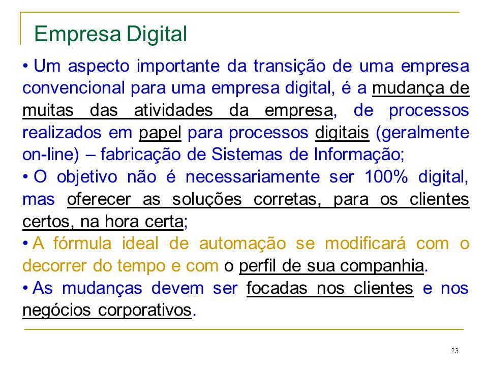 23 Empresa Digital Um aspecto importante da transição de uma empresa convencional para uma empresa digital, é a mudança de muitas das atividades da em