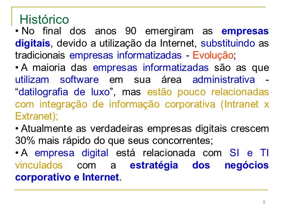 5 No final dos anos 90 emergiram as empresas digitais, devido a utilização da Internet, substituindo as tradicionais empresas informatizadas - Evolução; A maioria das empresas informatizadas são as que utilizam software em sua área administrativa -datilografia de luxo, mas estão pouco relacionadas com integração de informação corporativa (Intranet x Extranet); Atualmente as verdadeiras empresas digitais crescem 30% mais rápido do que seus concorrentes; A empresa digital está relacionada com SI e TI vinculados com a estratégia dos negócios corporativo e Internet.