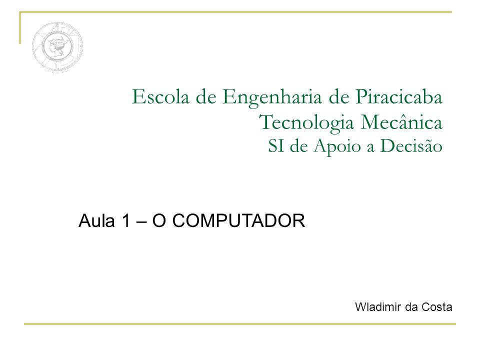 Escola de Engenharia de Piracicaba Tecnologia Mecânica SI de Apoio a Decisão Aula 1 – O COMPUTADOR Wladimir da Costa
