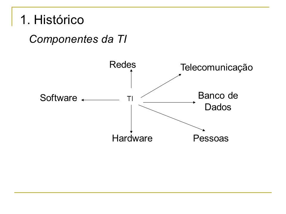 1. Histórico Componentes da TI Redes Banco de Dados PessoasHardware Software Telecomunicação TI