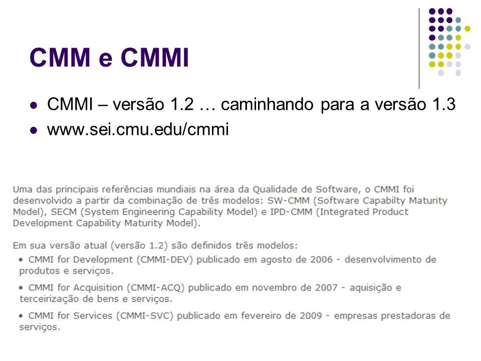 CMM e CMMI CMMI – versão 1.2 … caminhando para a versão 1.3 www.sei.cmu.edu/cmmi