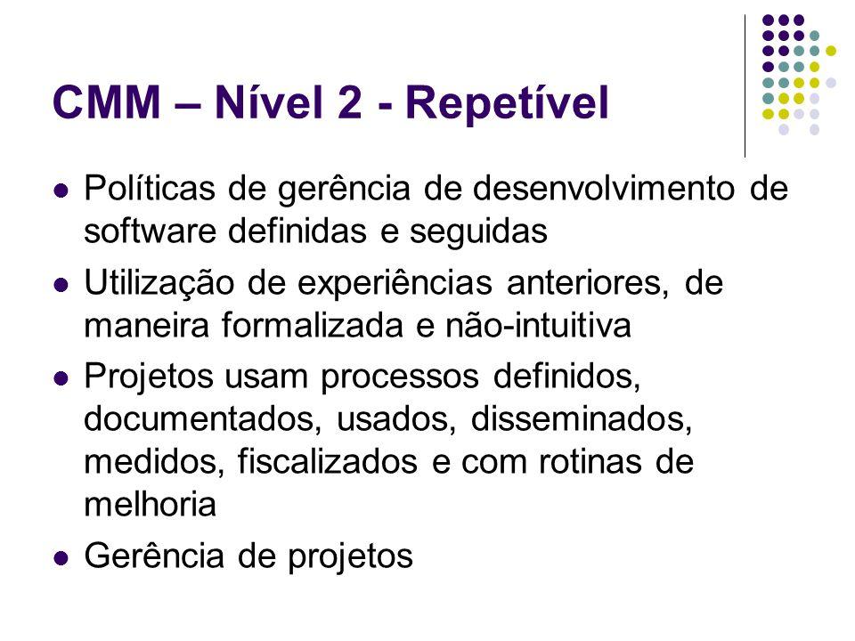 CMM – Nível 2 - Repetível Políticas de gerência de desenvolvimento de software definidas e seguidas Utilização de experiências anteriores, de maneira formalizada e não-intuitiva Projetos usam processos definidos, documentados, usados, disseminados, medidos, fiscalizados e com rotinas de melhoria Gerência de projetos