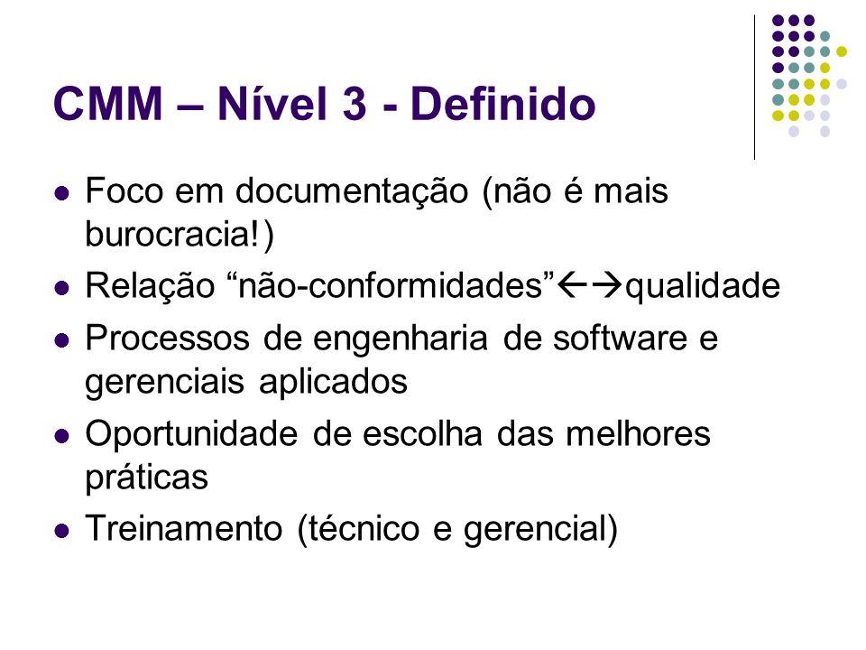 CMM – Nível 3 - Definido Foco em documentação (não é mais burocracia!) Relação não-conformidades qualidade Processos de engenharia de software e gerenciais aplicados Oportunidade de escolha das melhores práticas Treinamento (técnico e gerencial)