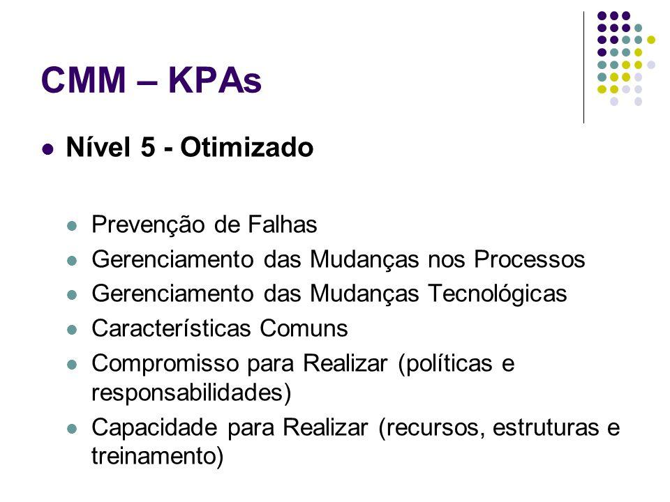 CMM – KPAs Nível 5 - Otimizado Prevenção de Falhas Gerenciamento das Mudanças nos Processos Gerenciamento das Mudanças Tecnológicas Características Comuns Compromisso para Realizar (políticas e responsabilidades) Capacidade para Realizar (recursos, estruturas e treinamento)