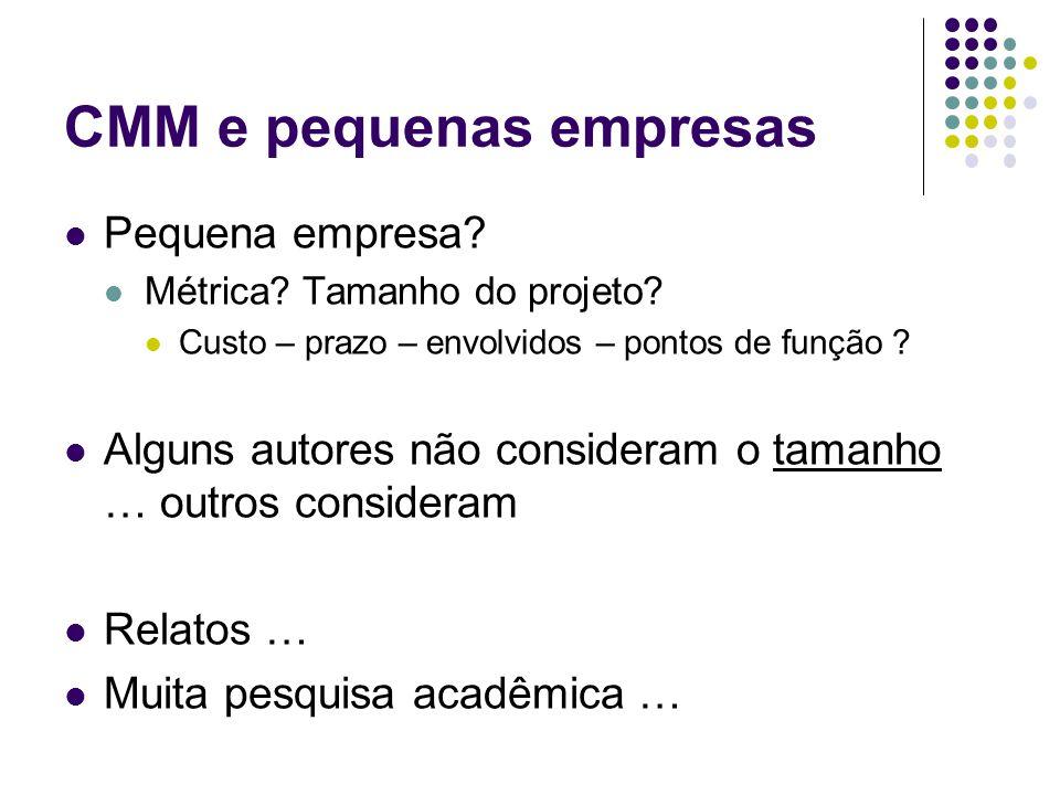 CMM e pequenas empresas Pequena empresa.Métrica. Tamanho do projeto.