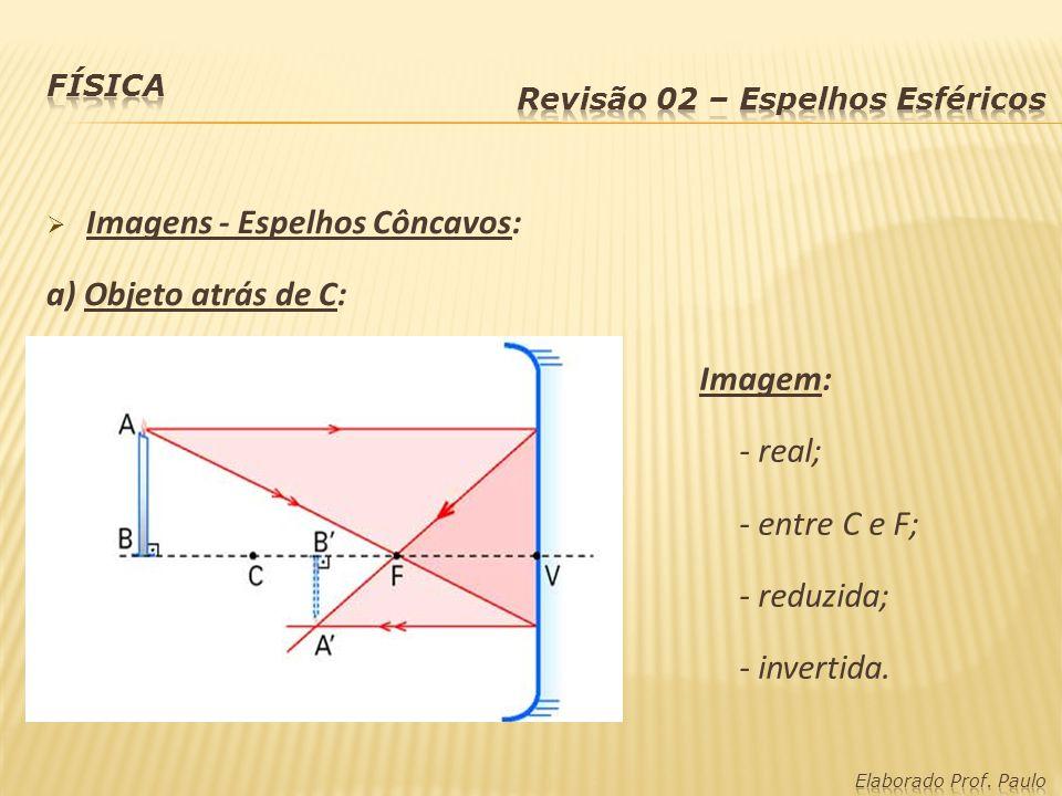 Imagens - Espelhos Côncavos: a) Objeto atrás de C: Imagem: - real; - entre C e F; - reduzida; - invertida.