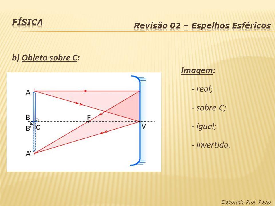 b) Objeto sobre C: Imagem: - real; - sobre C; - igual; - invertida.