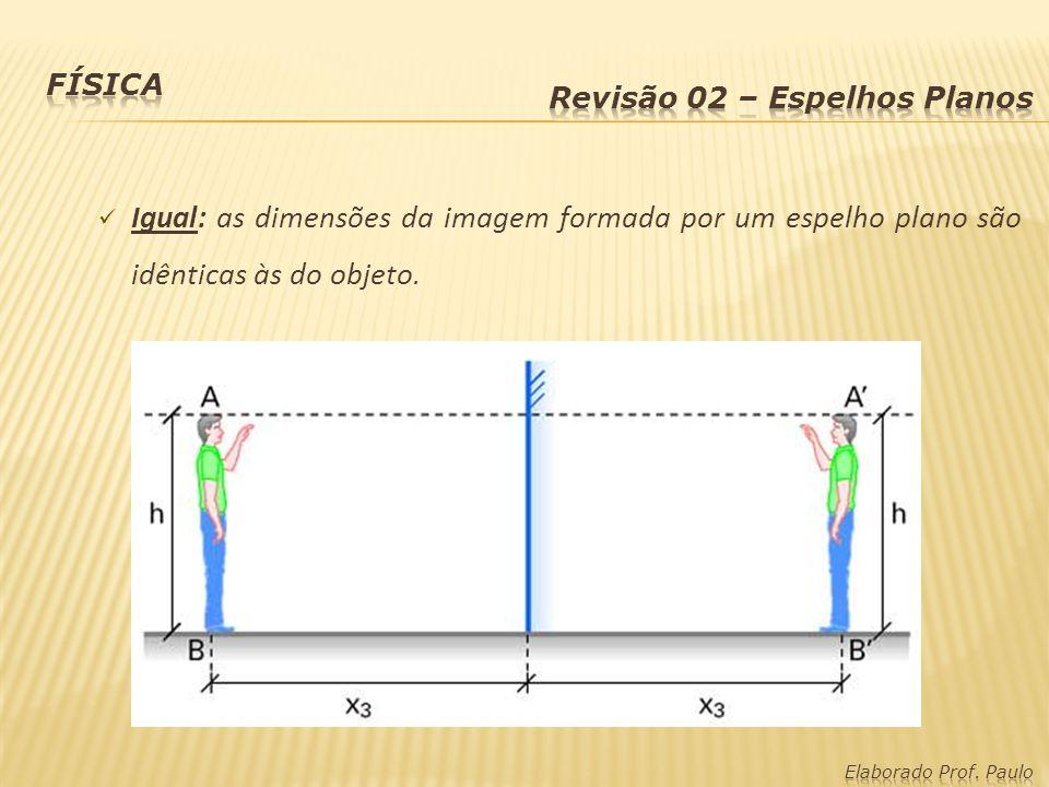 Igual: as dimensões da imagem formada por um espelho plano são idênticas às do objeto.