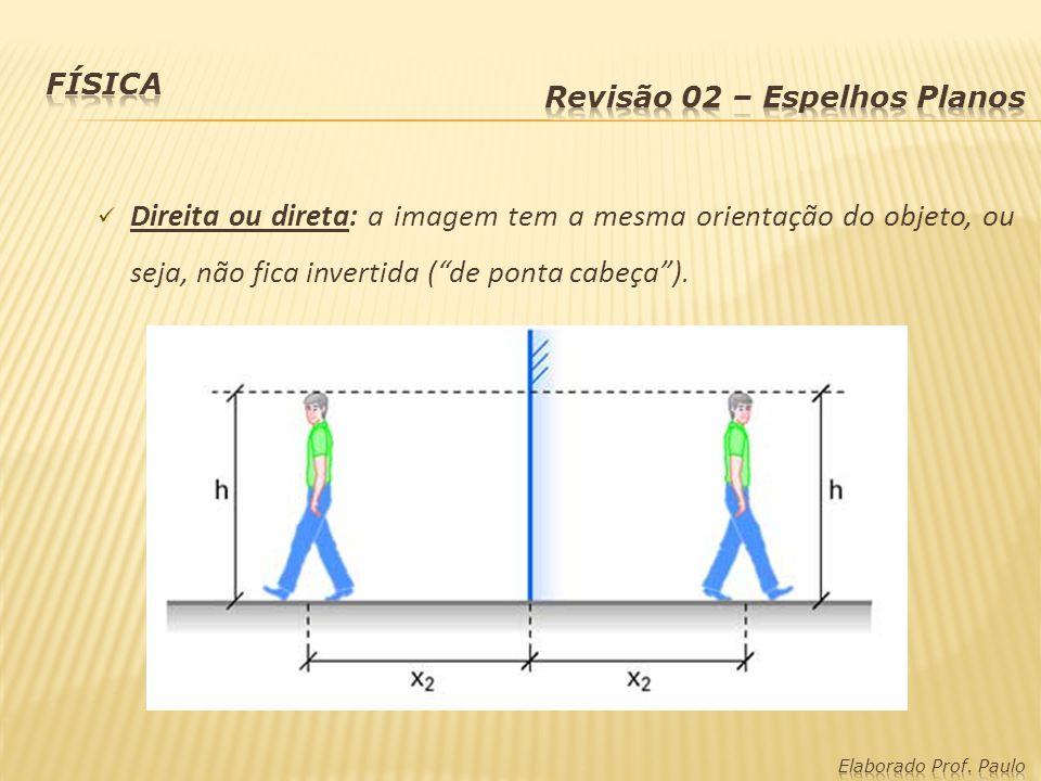 Direita ou direta: a imagem tem a mesma orientação do objeto, ou seja, não fica invertida (de ponta cabeça).