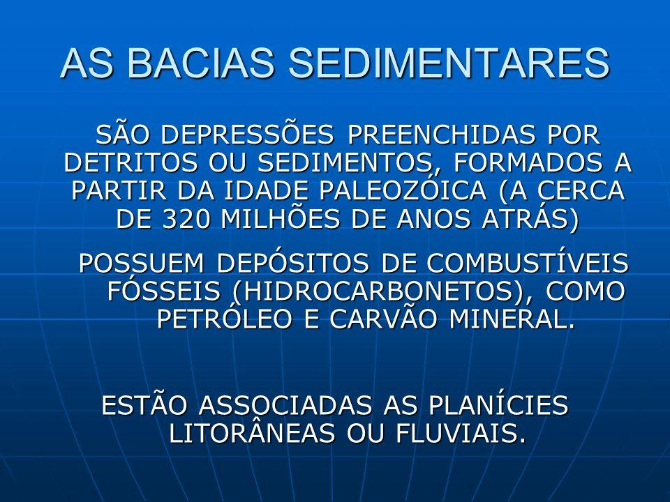 AS BACIAS SEDIMENTARES SÃO DEPRESSÕES PREENCHIDAS POR DETRITOS OU SEDIMENTOS, FORMADOS A PARTIR DA IDADE PALEOZÓICA (A CERCA DE 320 MILHÕES DE ANOS ATRÁS) POSSUEM DEPÓSITOS DE COMBUSTÍVEIS FÓSSEIS (HIDROCARBONETOS), COMO PETRÓLEO E CARVÃO MINERAL.