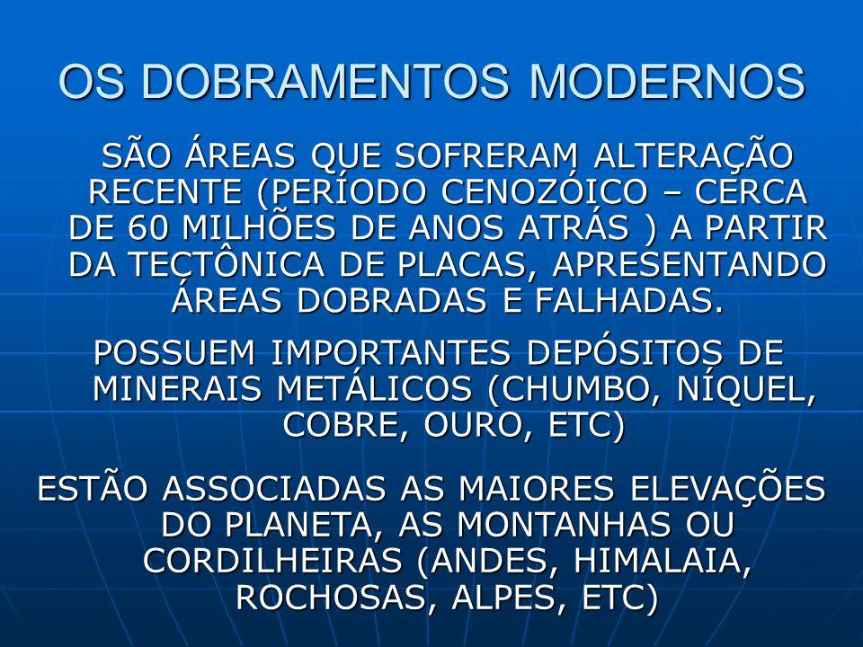 OS DOBRAMENTOS MODERNOS SÃO ÁREAS QUE SOFRERAM ALTERAÇÃO RECENTE (PERÍODO CENOZÓICO – CERCA DE 60 MILHÕES DE ANOS ATRÁS ) A PARTIR DA TECTÔNICA DE PLACAS, APRESENTANDO ÁREAS DOBRADAS E FALHADAS.