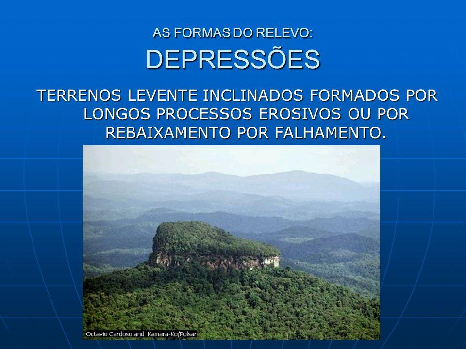 AS FORMAS DO RELEVO: DEPRESSÕES TERRENOS LEVENTE INCLINADOS FORMADOS POR LONGOS PROCESSOS EROSIVOS OU POR REBAIXAMENTO POR FALHAMENTO.