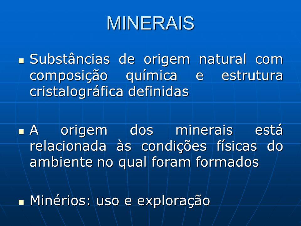 MINERAIS Substâncias de origem natural com composição química e estrutura cristalográfica definidas Substâncias de origem natural com composição quími